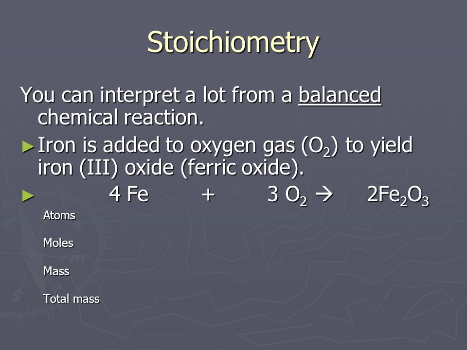Stoichiometry Nitrogen gas (N 2 ) is added to hydrogen gas (H 2 ) to make ammonia (NH 3 ).