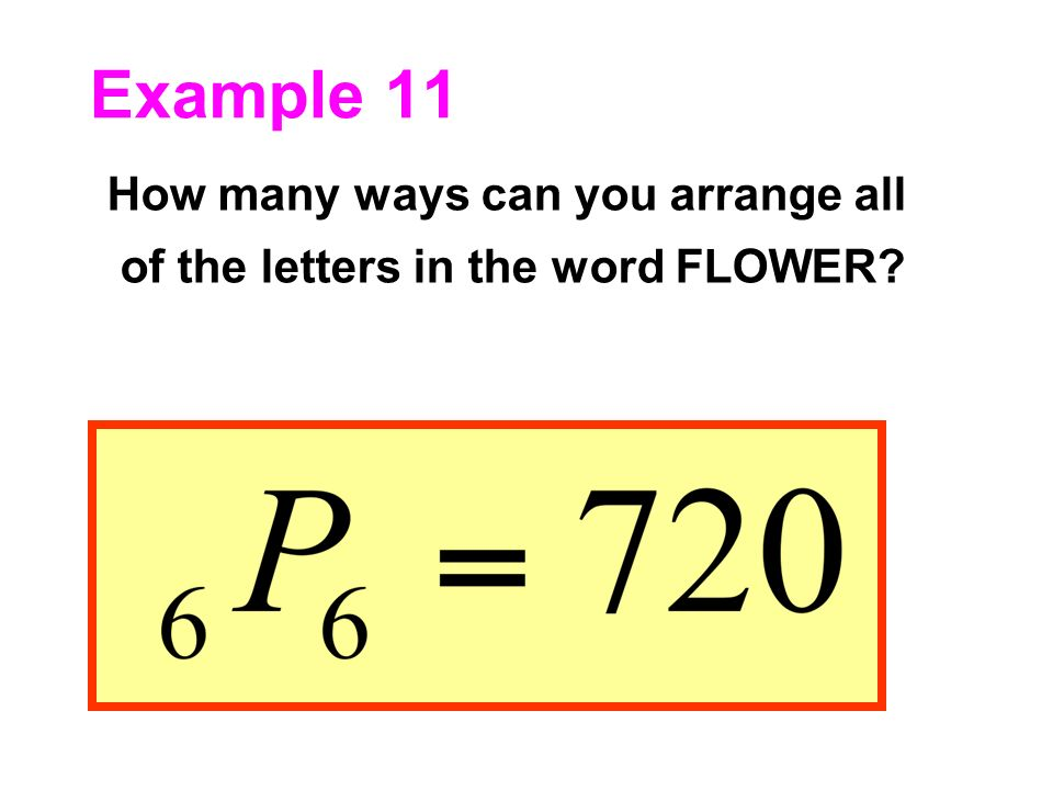 Example 11 How many ways can you arrange all of the letters in the word FLOWER