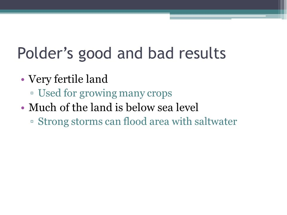 Polders good and bad results Very fertile land Used for growing many crops Much of the land is below sea level Strong storms can flood area with saltw