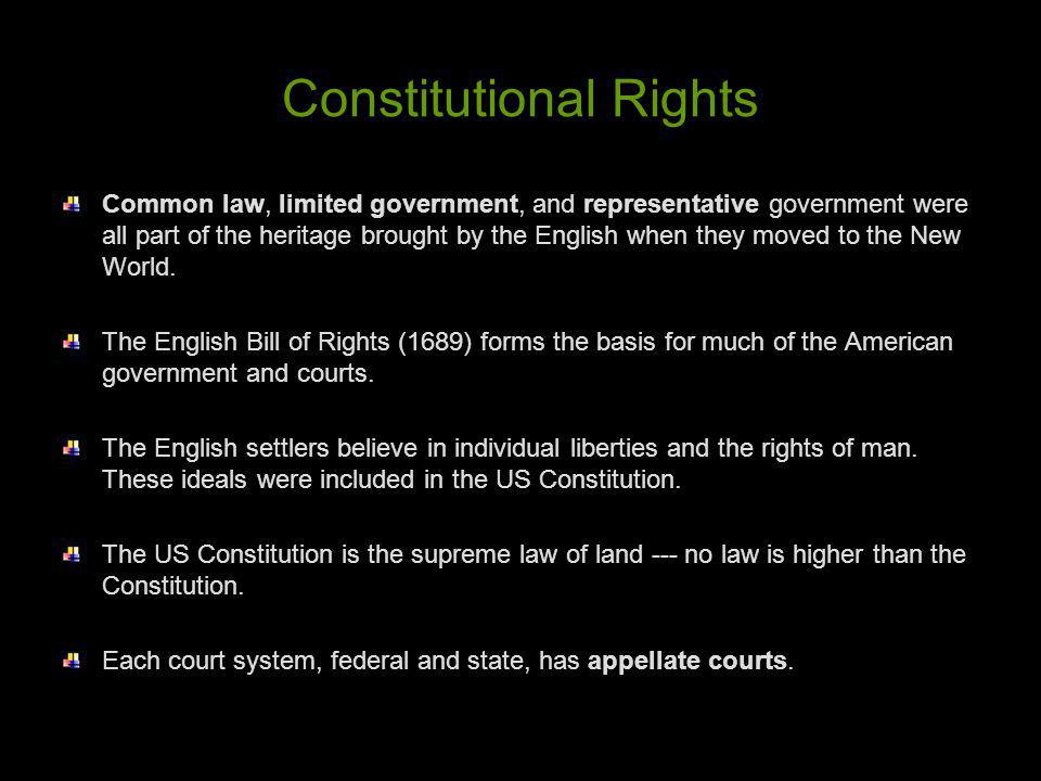 Constitutional Rights Common law, limited government, and representative government were all part of the heritage brought by the English when they mov