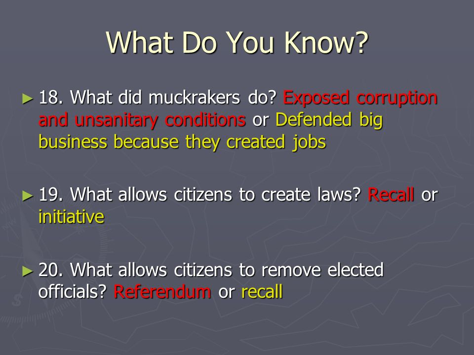 What Do You Know.21. What is a law originated by the people.