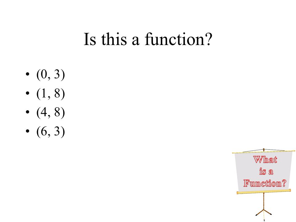 Is this a function? (0, 3) (1, 8) (4, 8) (6, 3)