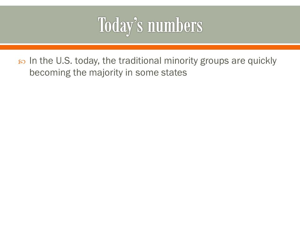 In the U.S. today, the traditional minority groups are quickly becoming the majority in some states