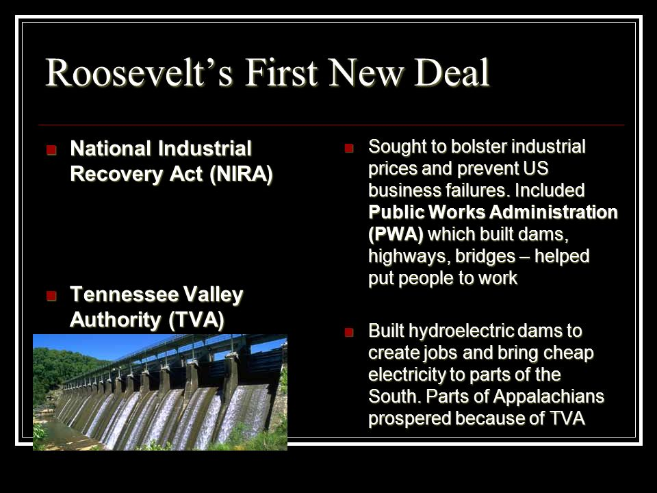 Roosevelts First New Deal National Industrial Recovery Act (NIRA) National Industrial Recovery Act (NIRA) Tennessee Valley Authority (TVA) Tennessee V