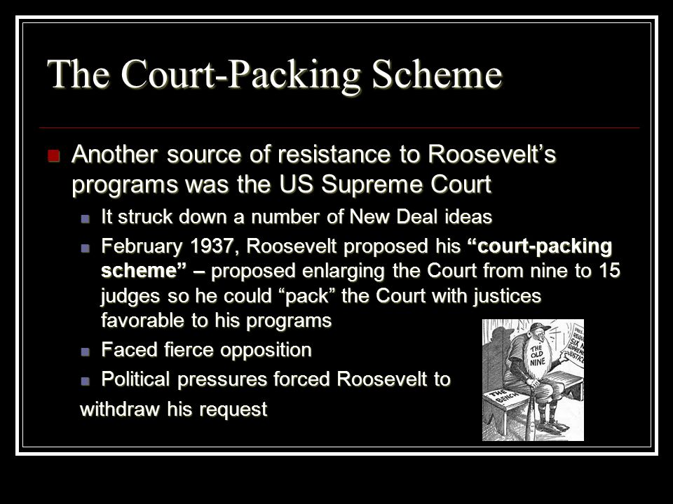 The Court-Packing Scheme Another source of resistance to Roosevelts programs was the US Supreme Court Another source of resistance to Roosevelts progr