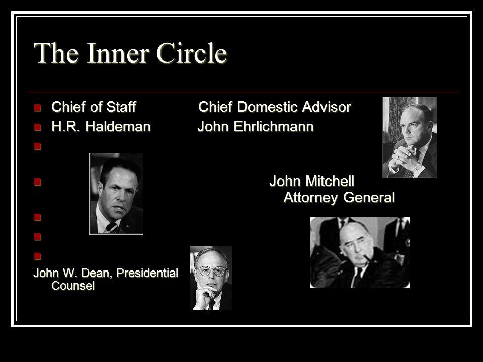 The Inner Circle Chief of Staff Chief Domestic Advisor Chief of Staff Chief Domestic Advisor H.R. Haldeman John Ehrlichmann H.R. Haldeman John Ehrlich