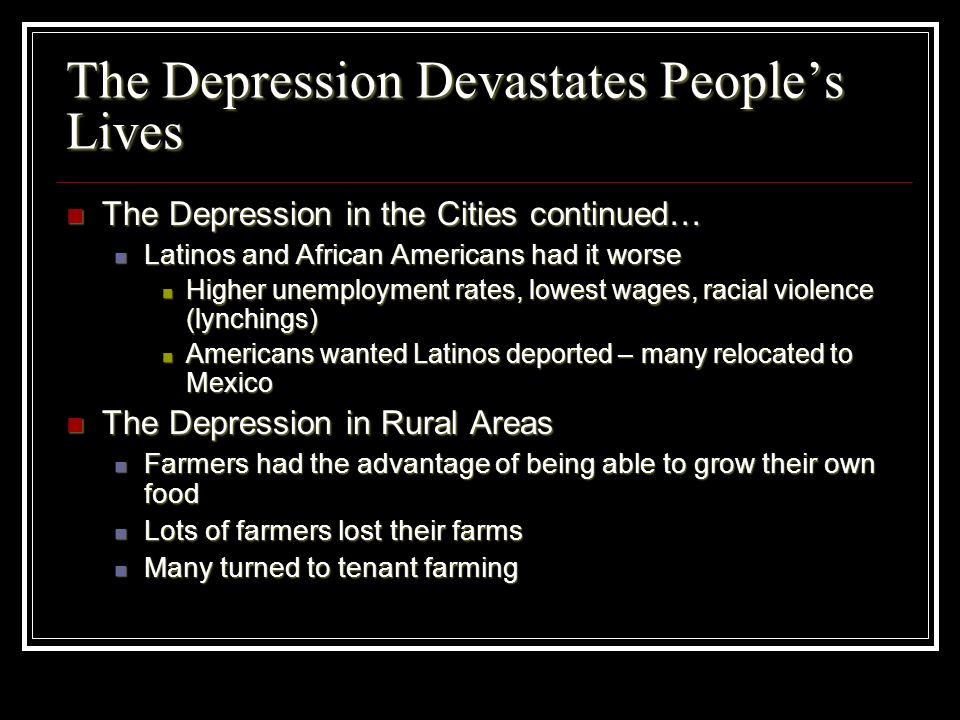 The Depression Devastates Peoples Lives The Depression in the Cities continued… The Depression in the Cities continued… Latinos and African Americans