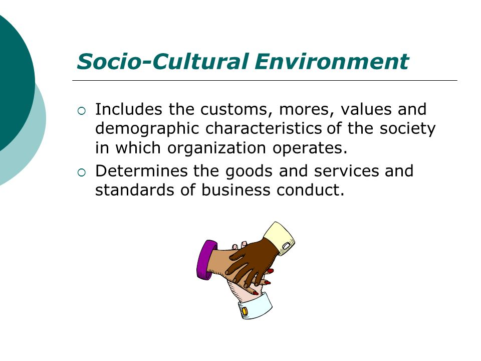 Socio-Cultural Environment Includes the customs, mores, values and demographic characteristics of the society in which organization operates. Determin
