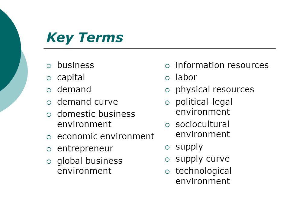 Key Terms business capital demand demand curve domestic business environment economic environment entrepreneur global business environment information