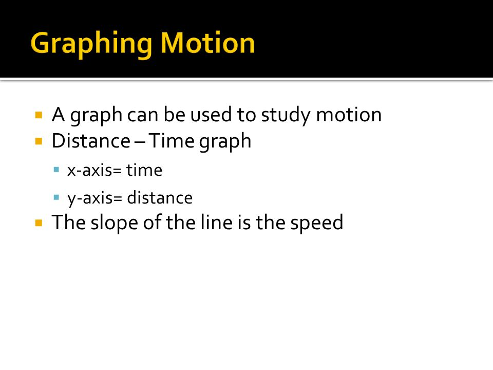 A graph can be used to study motion Distance – Time graph x-axis= time y-axis= distance The slope of the line is the speed