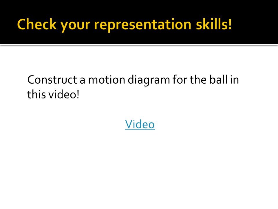 Construct a motion diagram for the ball in this video! Video