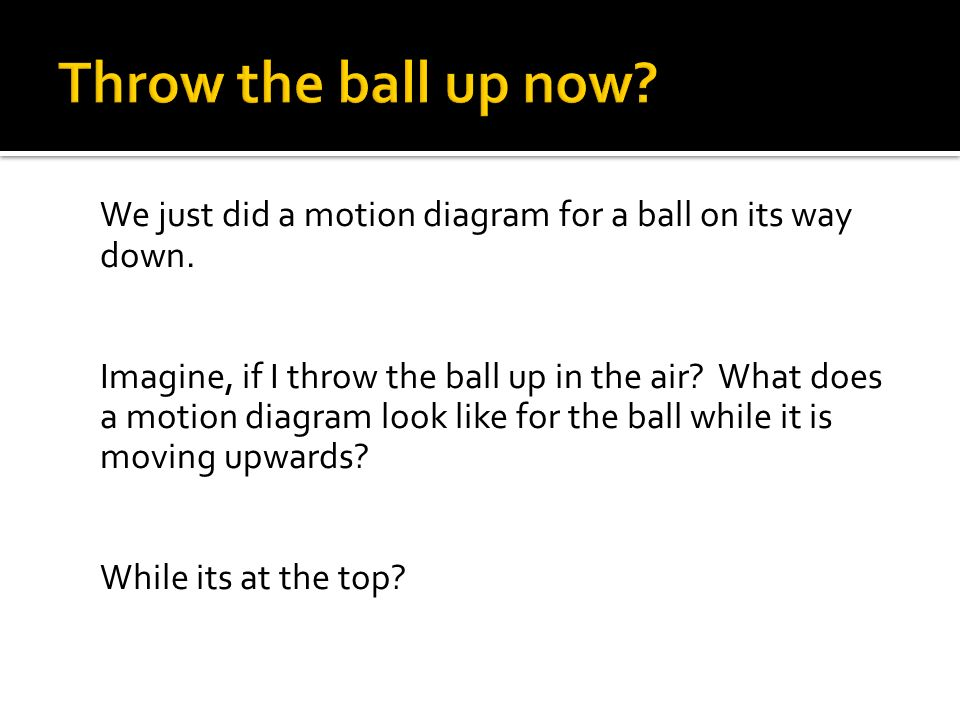 We just did a motion diagram for a ball on its way down. Imagine, if I throw the ball up in the air? What does a motion diagram look like for the ball