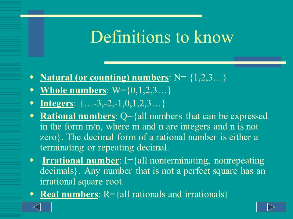 How to use this tutorial! This tutorial is designed to teach you about Real numbers ( subsets of real numbers and ordering real numbers). The presenta