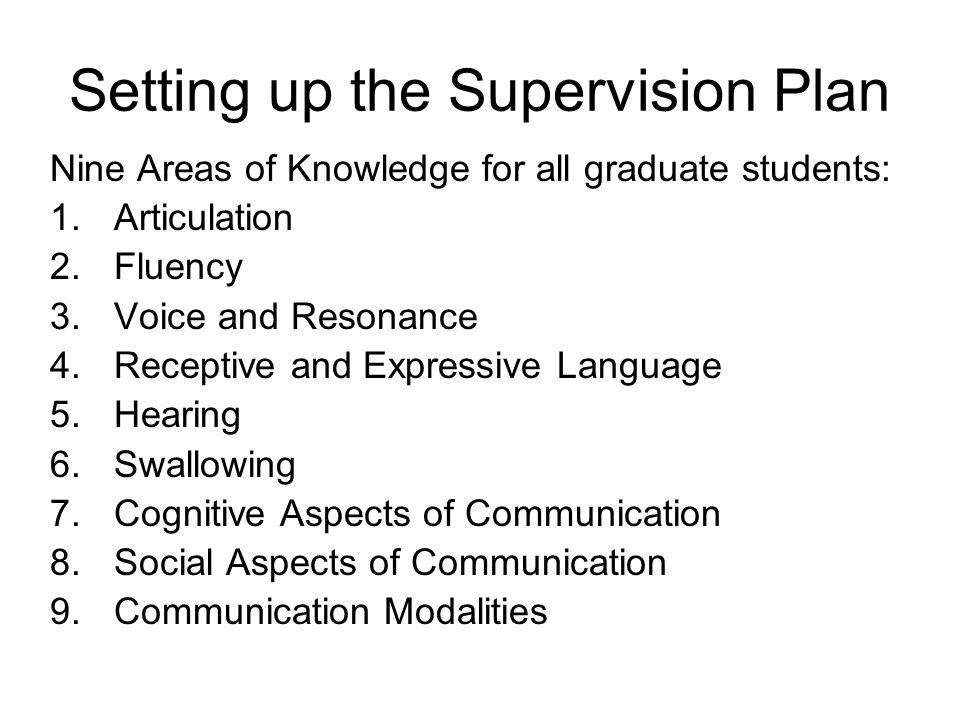Setting up the Supervision Plan Nine Areas of Knowledge for all graduate students: 1.Articulation 2.Fluency 3.Voice and Resonance 4.Receptive and Expressive Language 5.Hearing 6.Swallowing 7.Cognitive Aspects of Communication 8.Social Aspects of Communication 9.Communication Modalities