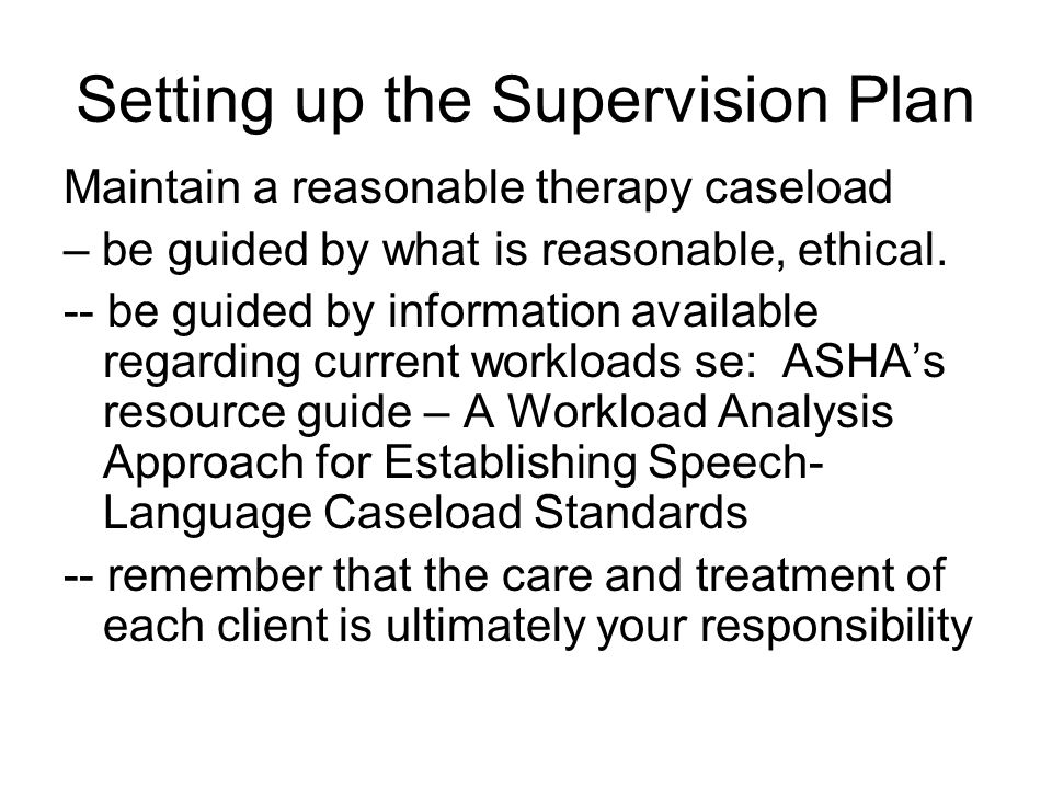 Setting up the Supervision Plan Maintain a reasonable therapy caseload – be guided by what is reasonable, ethical.
