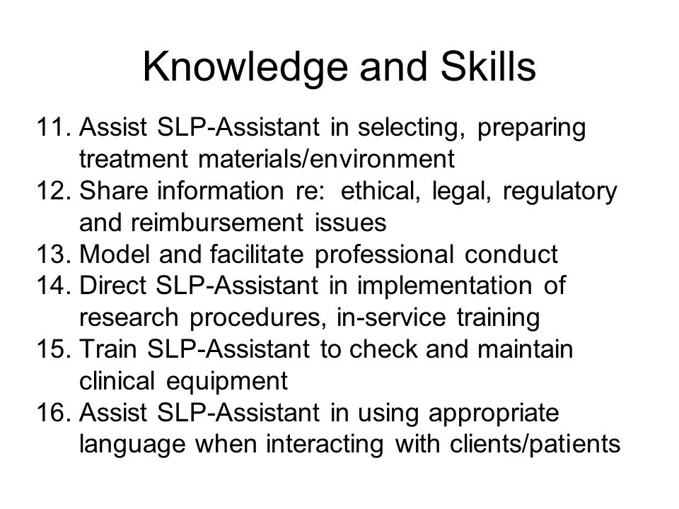Knowledge and Skills 11.