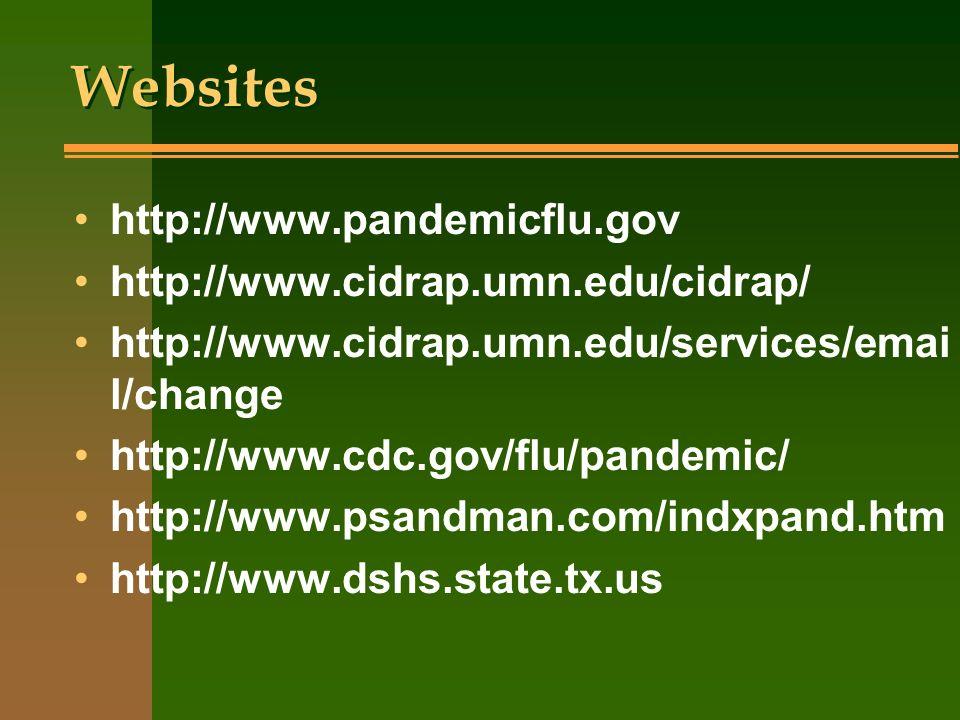 Websites http://www.pandemicflu.gov http://www.cidrap.umn.edu/cidrap/ http://www.cidrap.umn.edu/services/emai l/change http://www.cdc.gov/flu/pandemic