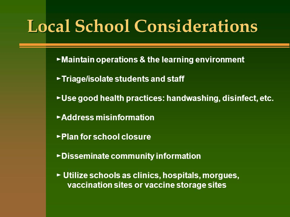 Local School Considerations Maintain operations & the learning environment Triage/isolate students and staff Use good health practices: handwashing, d