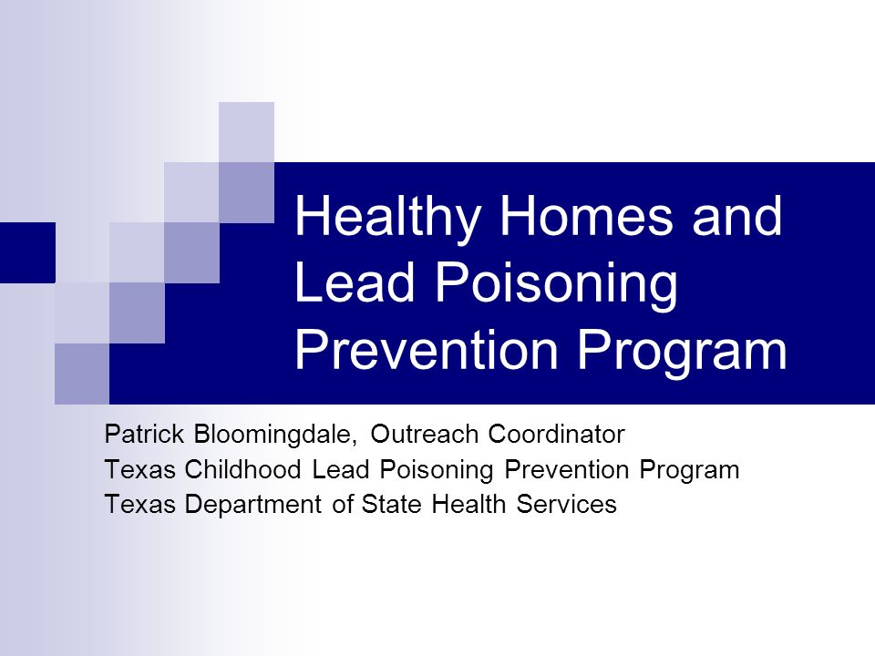 Healthy Homes and Lead Poisoning Prevention Program Patrick Bloomingdale, Outreach Coordinator Texas Childhood Lead Poisoning Prevention Program Texas
