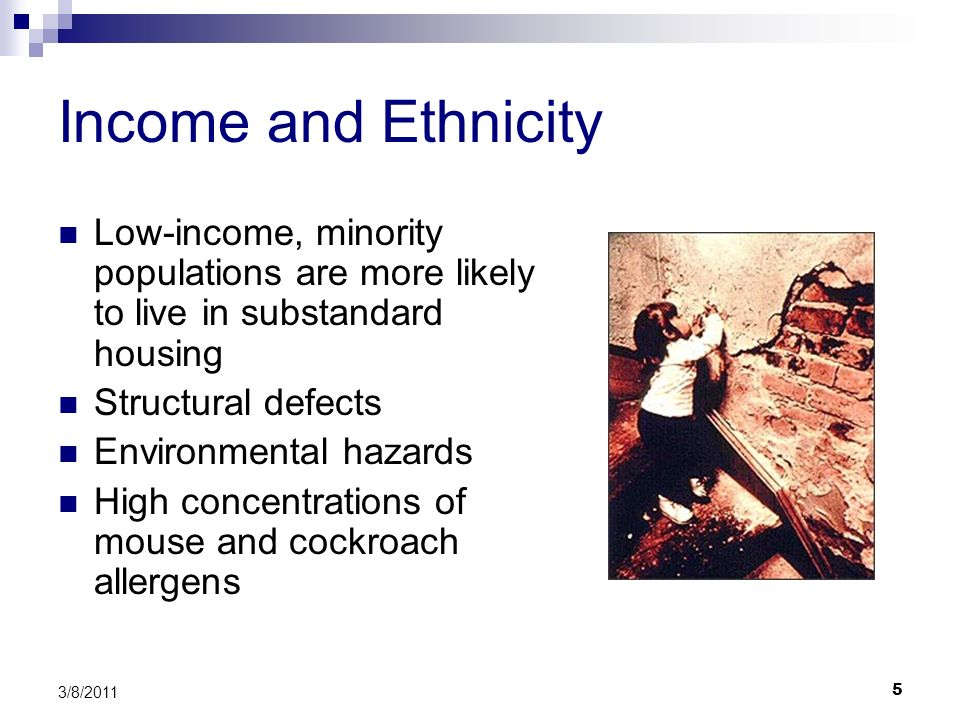 5 3/8/2011 Income and Ethnicity Low-income, minority populations are more likely to live in substandard housing Structural defects Environmental hazards High concentrations of mouse and cockroach allergens