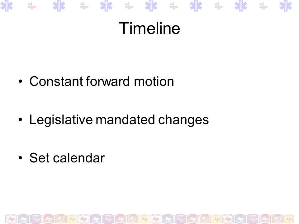 Timeline Constant forward motion Legislative mandated changes Set calendar