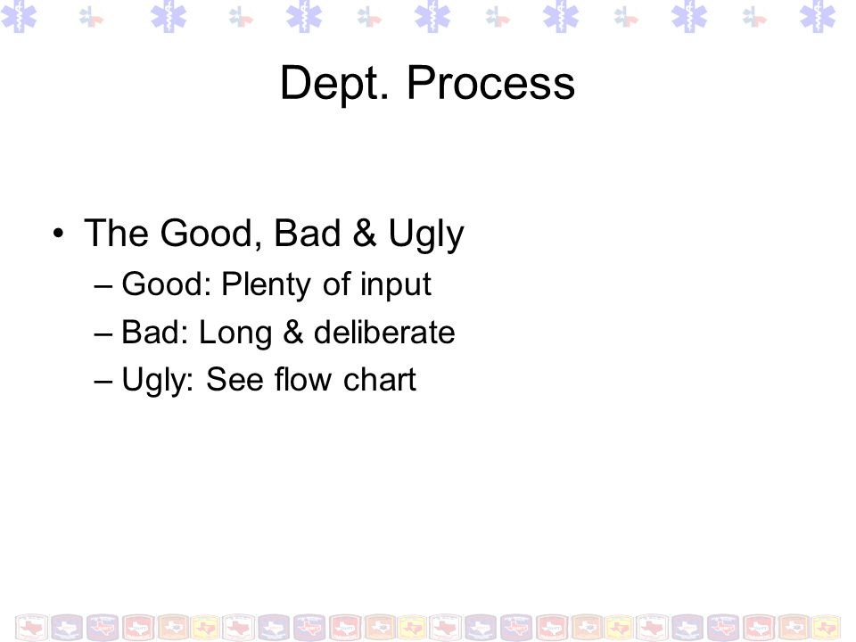Dept. Process The Good, Bad & Ugly –Good: Plenty of input –Bad: Long & deliberate –Ugly: See flow chart