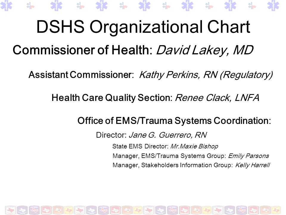 DSHS Organizational Chart Commissioner of Health: David Lakey, MD Assistant Commissioner: Kathy Perkins, RN (Regulatory) Health Care Quality Section: