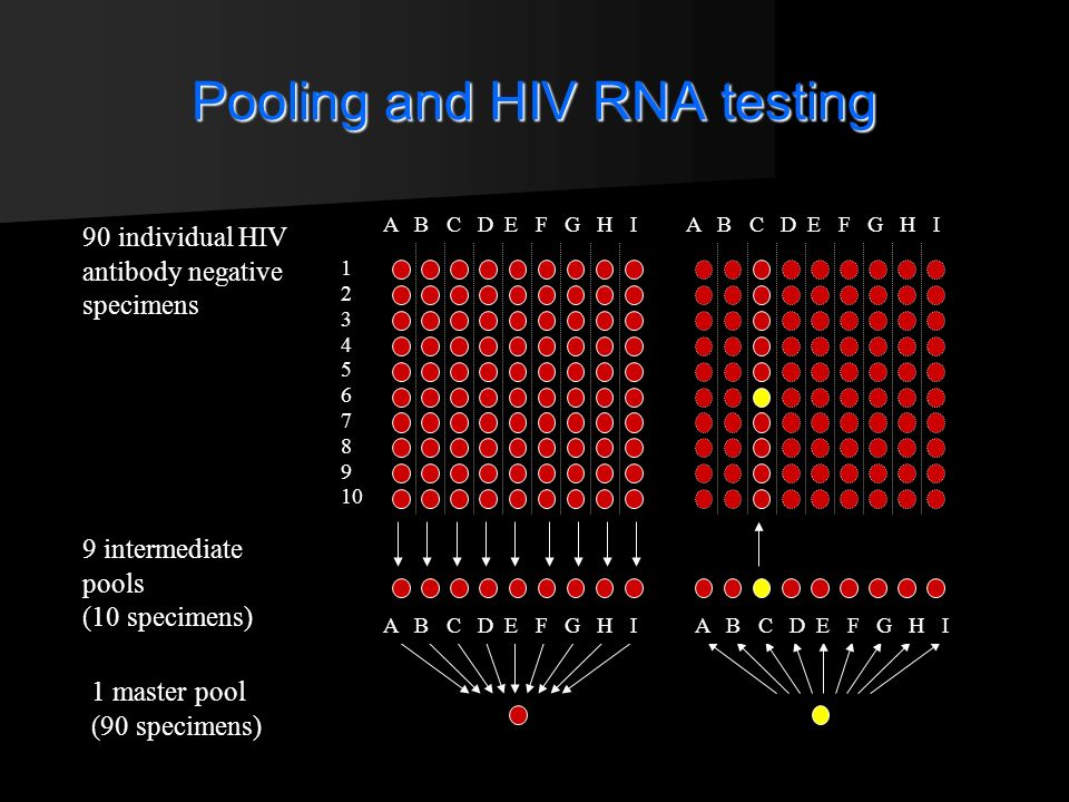 Pooling and HIV RNA testing 90 individual HIV antibody negative specimens 9 intermediate pools (10 specimens) 1 master pool (90 specimens)