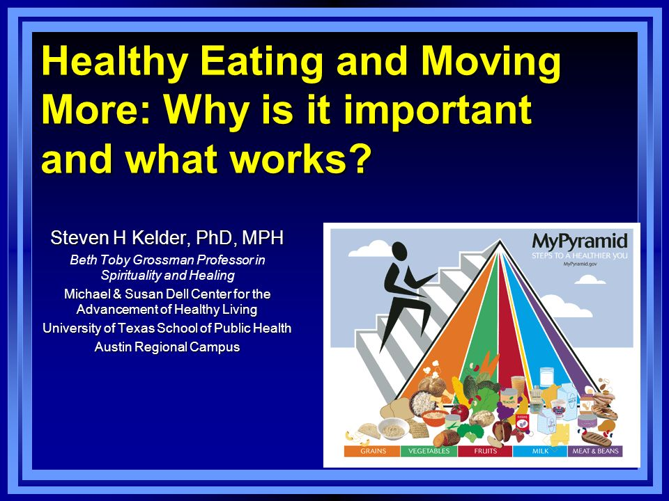 Healthy Eating and Moving More: Why is it important and what works.