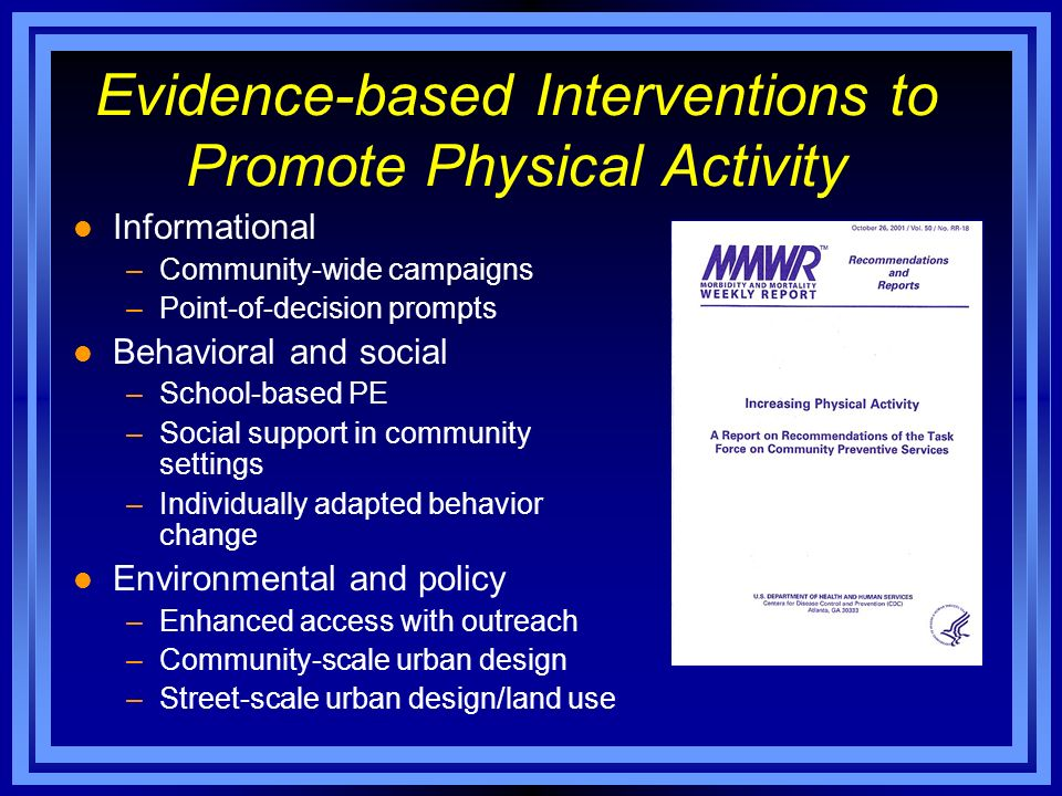 l Informational –Community-wide campaigns –Point-of-decision prompts l Behavioral and social –School-based PE –Social support in community settings –Individually adapted behavior change l Environmental and policy –Enhanced access with outreach –Community-scale urban design –Street-scale urban design/land use Evidence-based Interventions to Promote Physical Activity