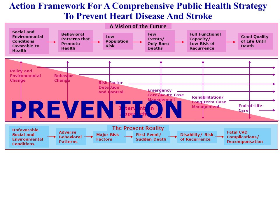 Action Framework For A Comprehensive Public Health Strategy To Prevent Heart Disease And Stroke Fatal CVD Complications/ Decompensation Unfavorable Social and Environmental Conditions Adverse Behavioral Patterns Major Risk Factors First Event/ Sudden Death Disability/ Risk of Recurrence The Present Reality Good Quality of Life Until Death Social and Environmental Conditions Favorable to Health Behavioral Patterns that Promote Health Low Population Risk Few Events/ Only Rare Deaths Full Functional Capacity/ Low Risk of Recurrence A Vision of the Future Policy and Environmental Change Behavior Change Risk Factor Detection and Control Emergency Care/Acute Case Management Rehabilitation/ Long-term Case Management Intervention Approaches End-of-Life Care PREVENTION