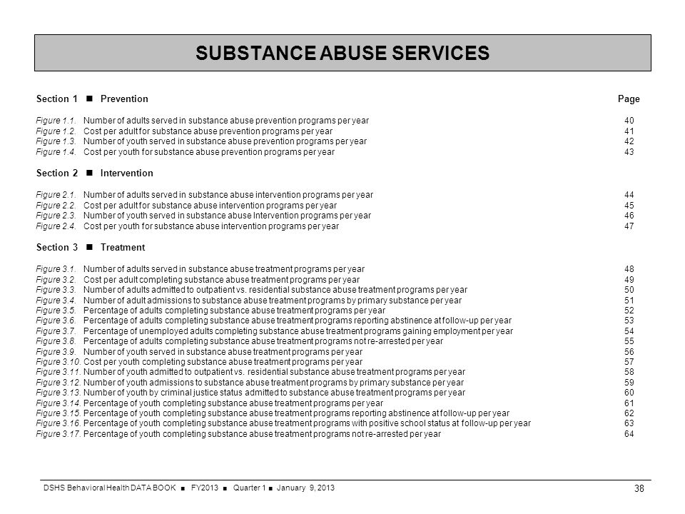 SUBSTANCE ABUSE SERVICES Section 1 Prevention Page Figure 1.1. Number of adults served in substance abuse prevention programs per year 40 Figure 1.2.