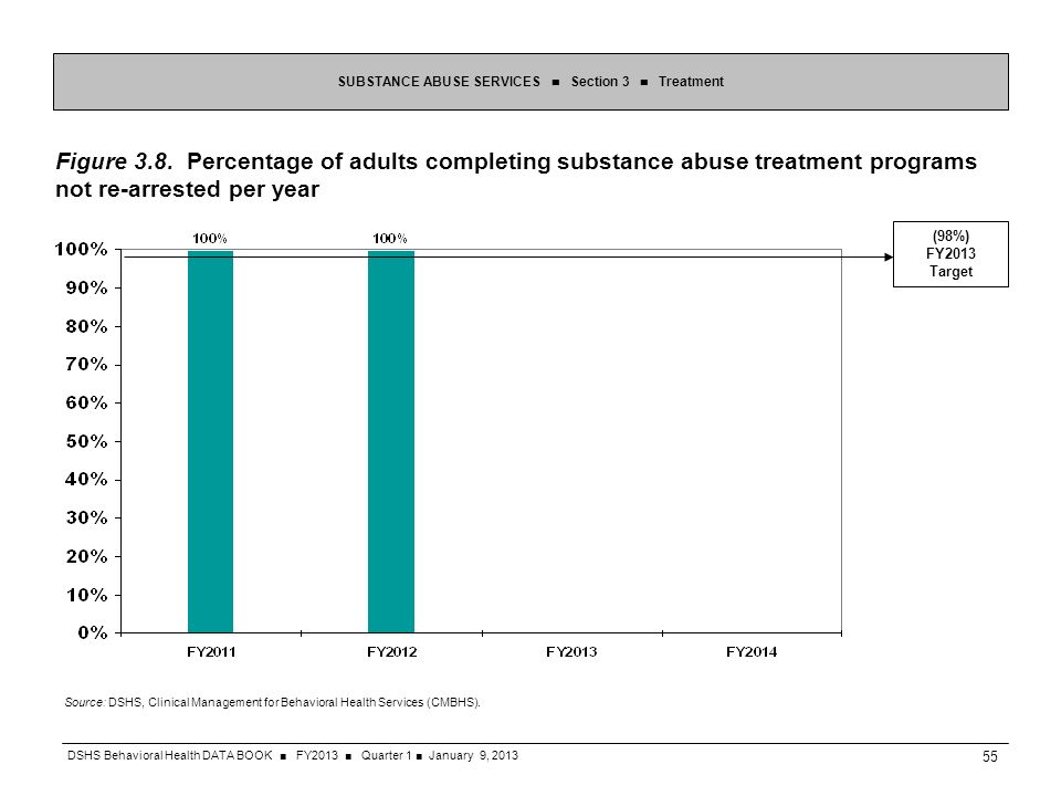 SUBSTANCE ABUSE SERVICES Section 3 Treatment Figure 3.8. Percentage of adults completing substance abuse treatment programs not re-arrested per year S