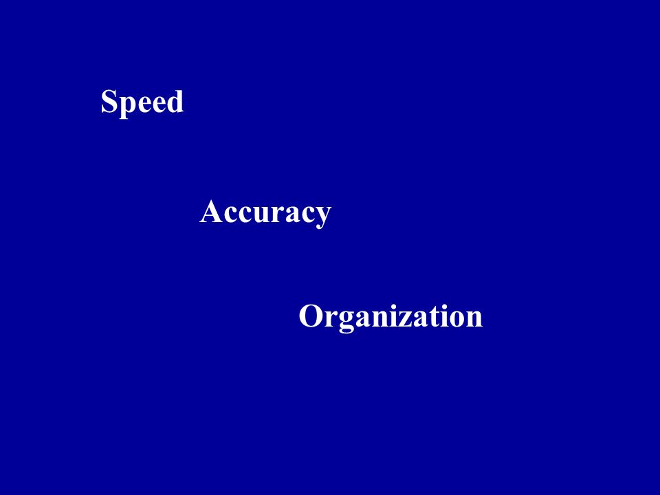 Speed Accuracy Organization