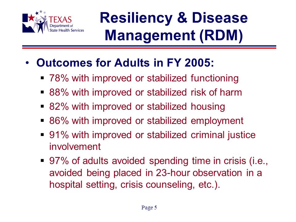 Page 5 Resiliency & Disease Management (RDM) Outcomes for Adults in FY 2005: 78% with improved or stabilized functioning 88% with improved or stabilized risk of harm 82% with improved or stabilized housing 86% with improved or stabilized employment 91% with improved or stabilized criminal justice involvement 97% of adults avoided spending time in crisis (i.e., avoided being placed in 23-hour observation in a hospital setting, crisis counseling, etc.).