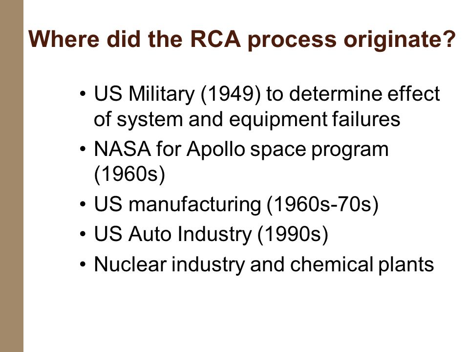 US Military (1949) to determine effect of system and equipment failures NASA for Apollo space program (1960s) US manufacturing (1960s-70s) US Auto Ind