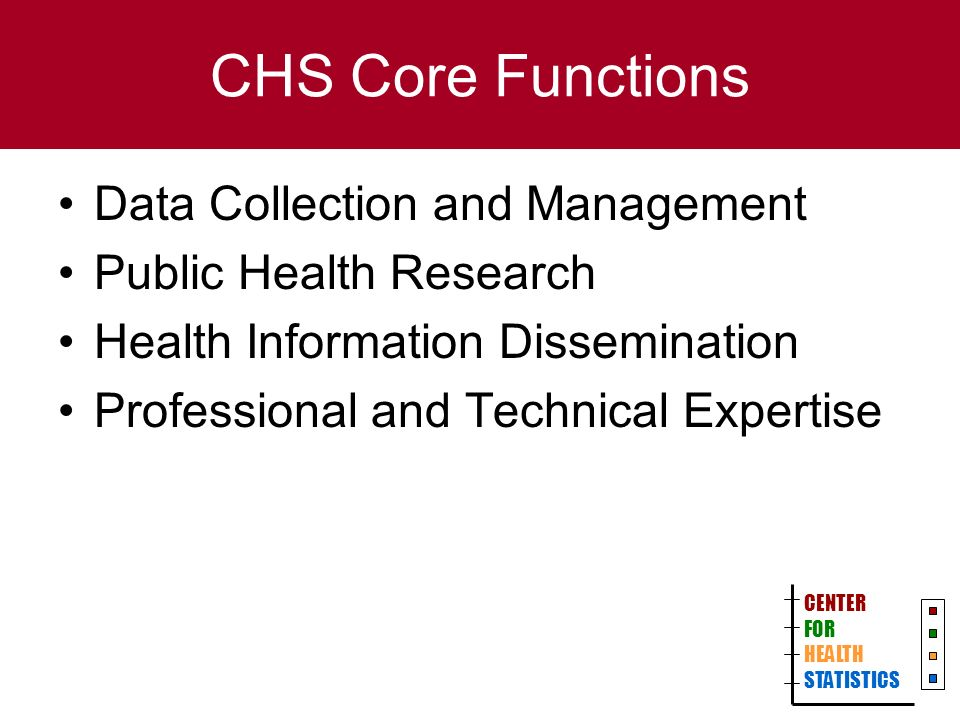CHS Core Functions Data Collection and Management Public Health Research Health Information Dissemination Professional and Technical Expertise CENTER FOR HEALTH STATISTICS