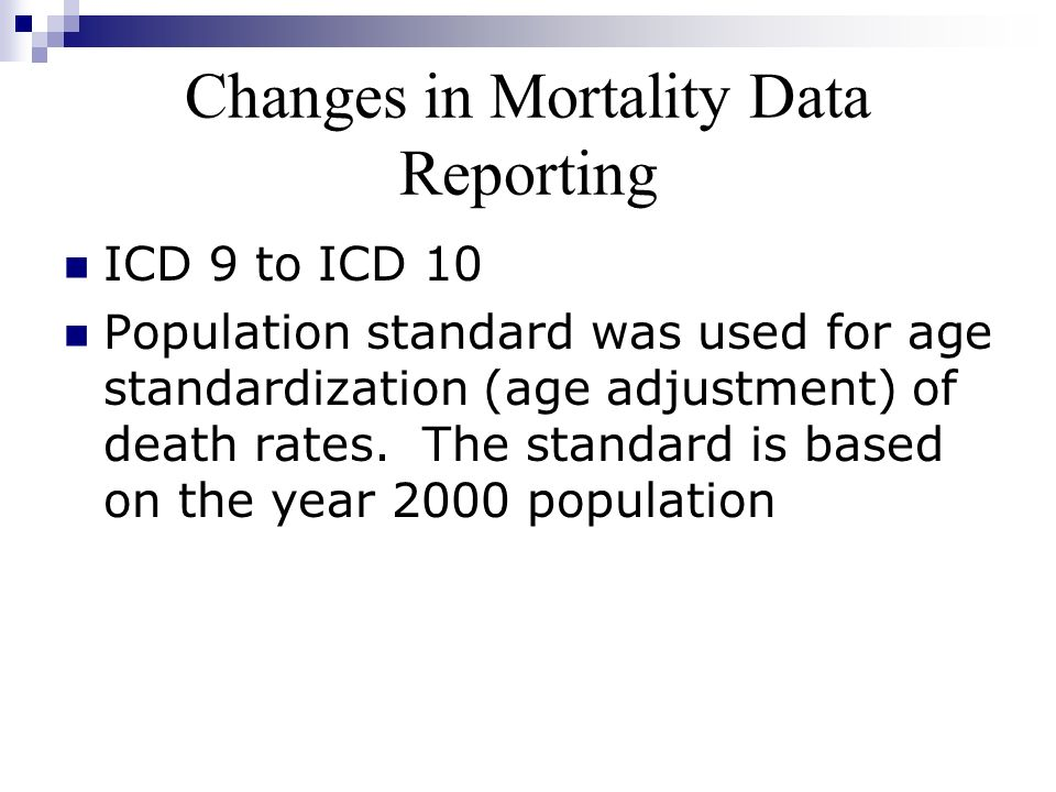 Changes in Mortality Data Reporting ICD 9 to ICD 10 Population standard was used for age standardization (age adjustment) of death rates. The standard