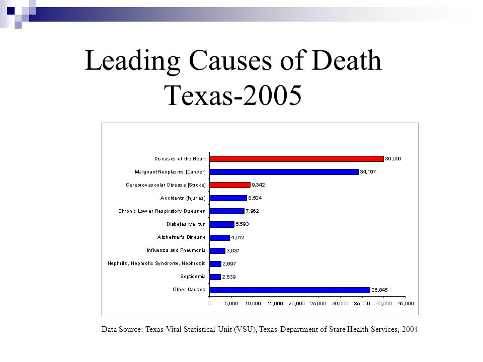 Leading Causes of Death Texas-2005 Data Source: Texas Vital Statistical Unit (VSU), Texas Department of State Health Services, 2004