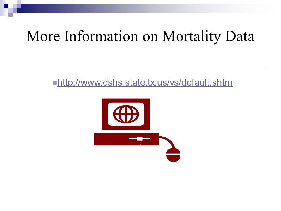 More Information on Mortality Data http://www.dshs.state.tx.us/vs/default.shtm