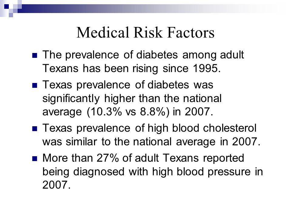 Medical Risk Factors The prevalence of diabetes among adult Texans has been rising since 1995. Texas prevalence of diabetes was significantly higher t