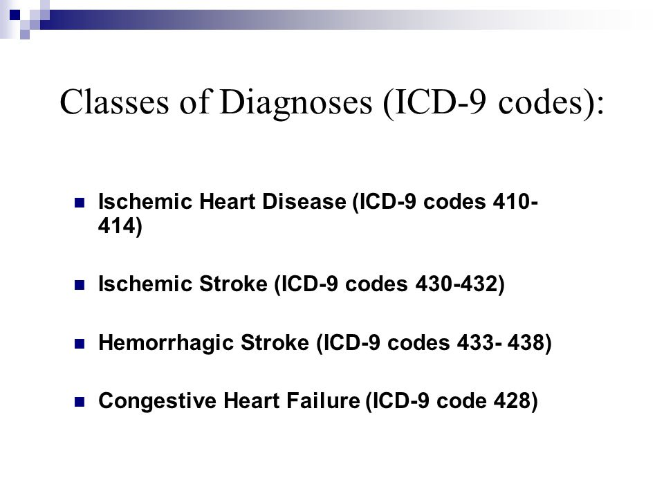 Classes of Diagnoses (ICD-9 codes): Ischemic Heart Disease (ICD-9 codes 410- 414) Ischemic Stroke (ICD-9 codes 430-432) Hemorrhagic Stroke (ICD-9 code