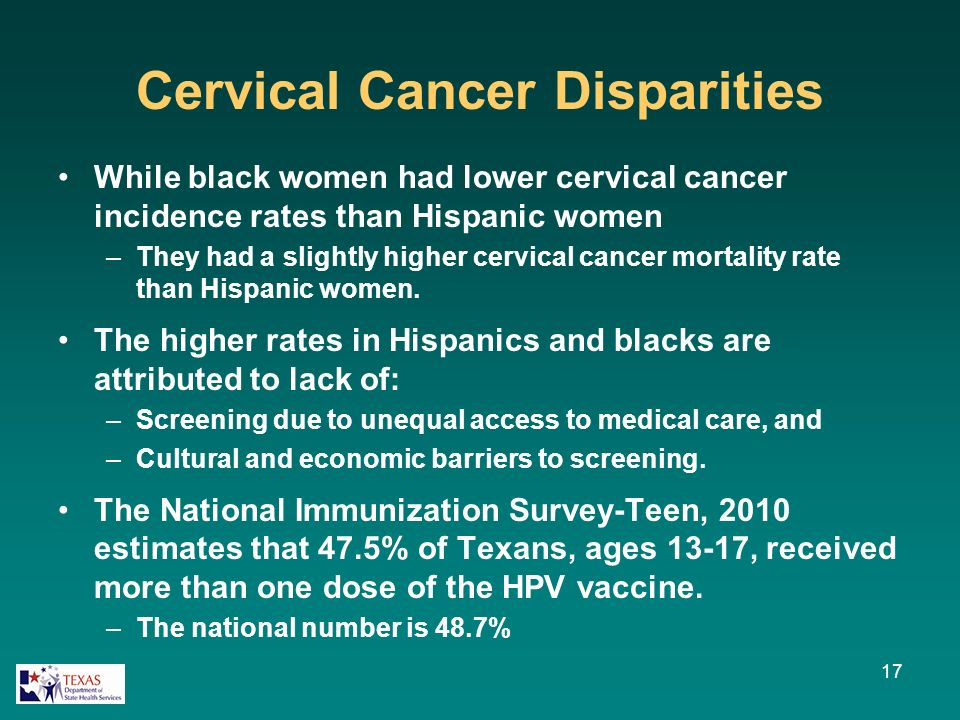 Cervical Cancer Disparities While black women had lower cervical cancer incidence rates than Hispanic women –They had a slightly higher cervical cancer mortality rate than Hispanic women.