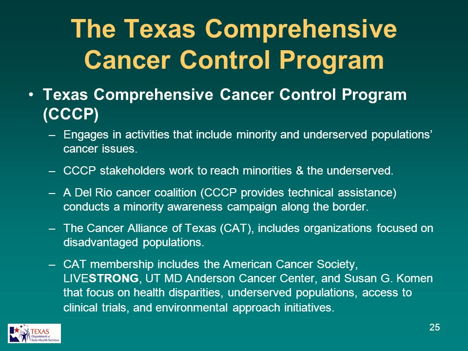 The Texas Comprehensive Cancer Control Program Texas Comprehensive Cancer Control Program (CCCP) –Engages in activities that include minority and underserved populations cancer issues.