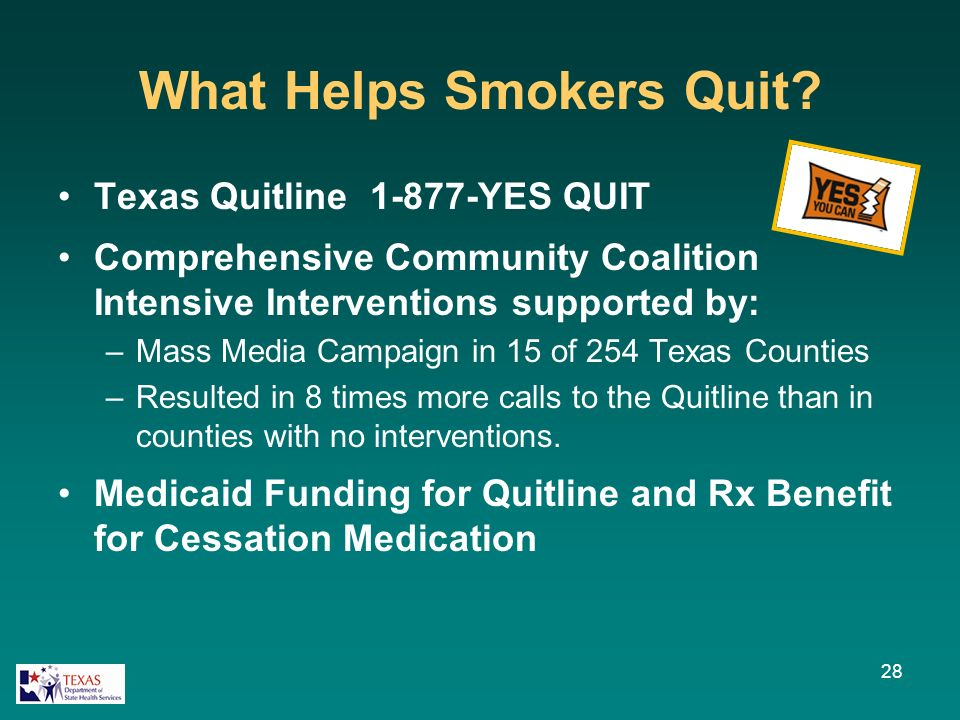 What Helps Smokers Quit? Texas Quitline 1-877-YES QUIT Comprehensive Community Coalition Intensive Interventions supported by: –Mass Media Campaign in