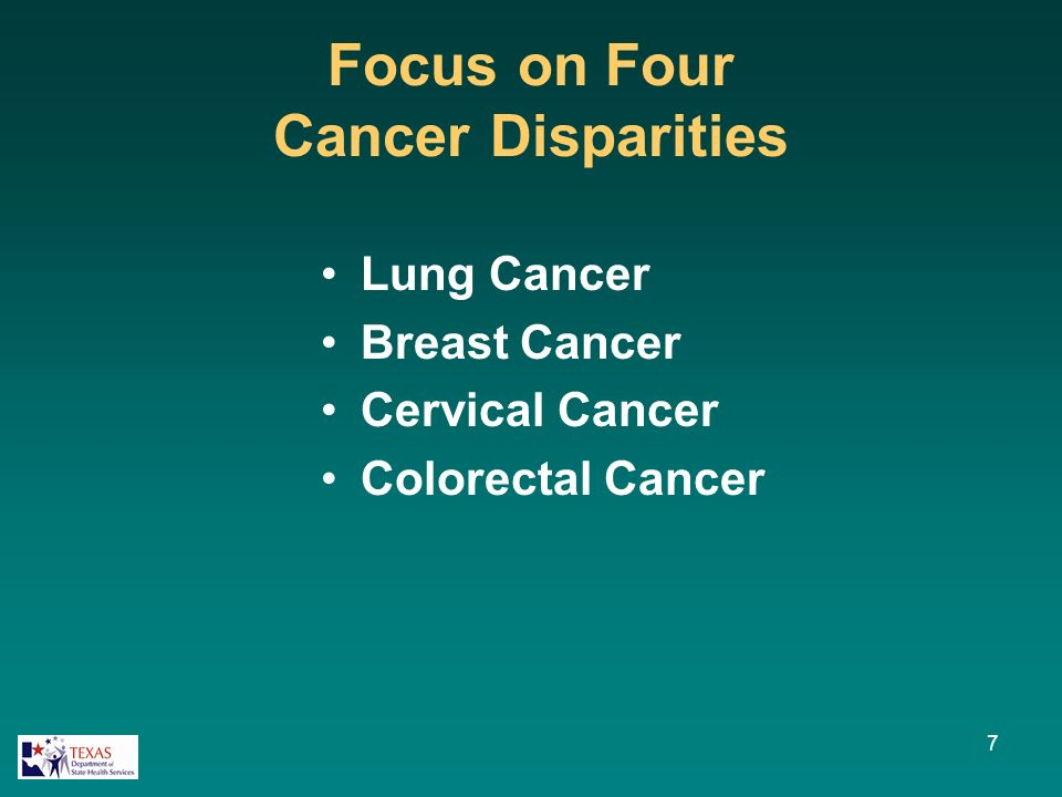 Focus on Four Cancer Disparities Lung Cancer Breast Cancer Cervical Cancer Colorectal Cancer 7