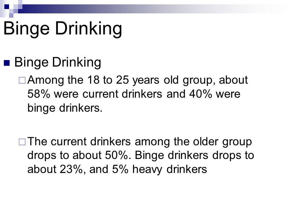 Binge Drinking Among the 18 to 25 years old group, about 58% were current drinkers and 40% were binge drinkers.