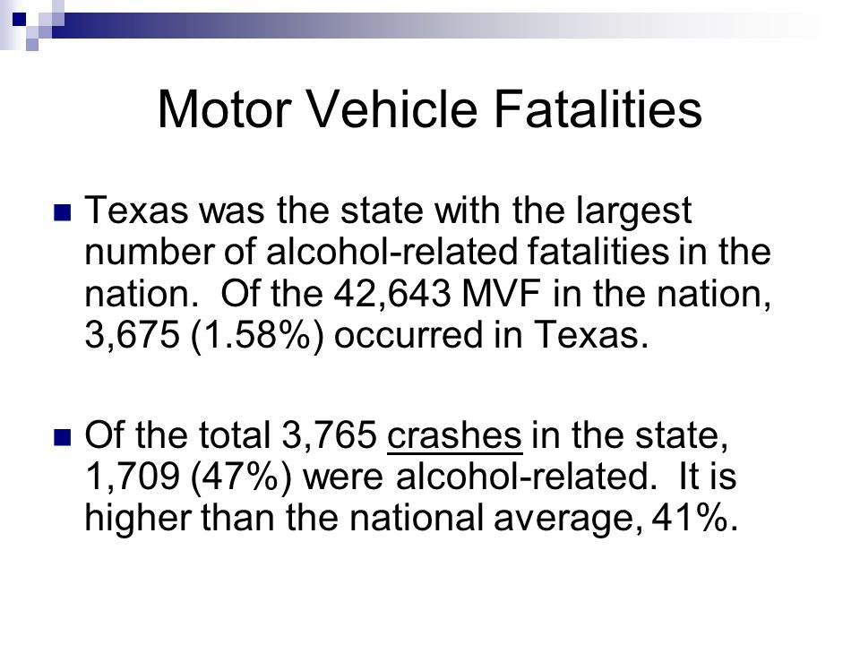 Motor Vehicle Fatalities Texas was the state with the largest number of alcohol-related fatalities in the nation. Of the 42,643 MVF in the nation, 3,6