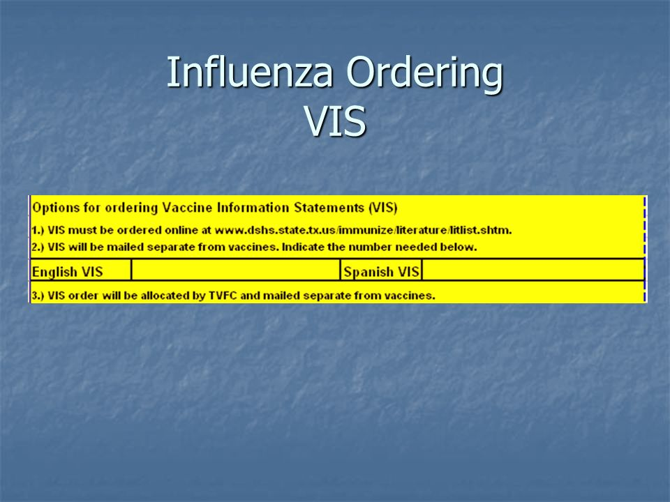 Influenza Ordering VIS