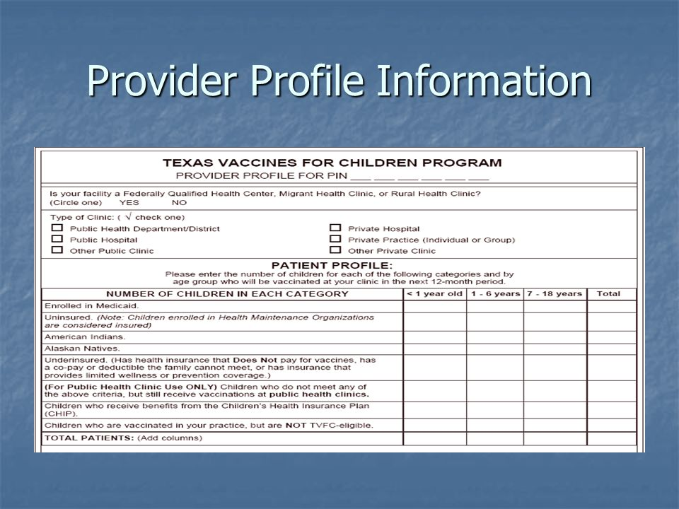 Provider Profile Information